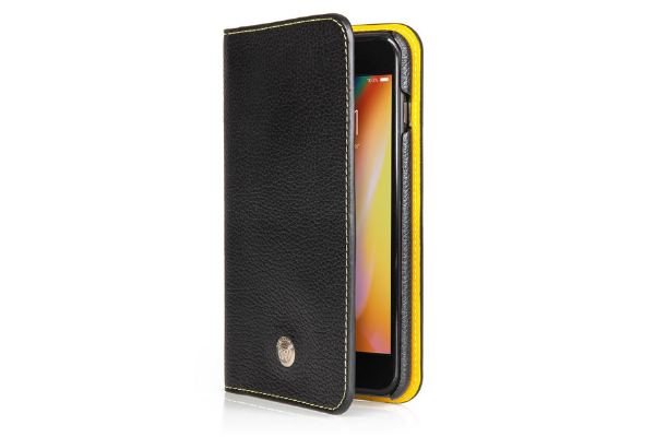Ultimate Jaguar Leather iPhone 6+ Wallet Case - Black & Yellow